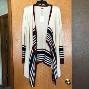 PINK ROSE red blue and cream LONG SLEAVE CARDIGAN